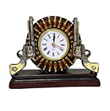 AR Country Store Double Six Shooters & Bullets Desk - Table Mantel Clock