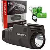 InForce APLc Glock WML Tactical Mounted Light 200 Lumens for Glock, Black Bundle with 3 CR2 Viridian Batteries and a Lumintrail Keychain Light