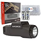 InForce APL Gen 3 Weapon Mounted Tactical Light 400 Lumens A-05-1 Bundle with 2 Extra Energizer CR123 Batteries and Lightjunction Battery Case (Black)