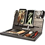 BarvA Wood Docking Station Tray Two Cell Phone Smartwatch Holder Men Charging Accessory Nightstand Father Mobile Gadget Organizer Tablet Storage Dresser Anniversary Birthday Graduation Gift