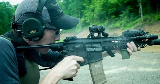 TRex Arm Shooting Sig MCX With Pistol Stabilizing Brace