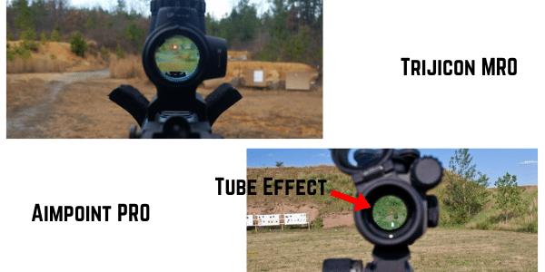 Aimpoint PRO VS Trijicon MRO objective lens field of view