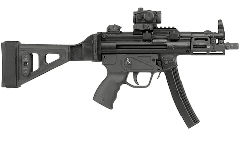 MP5K pistol with red dot sight