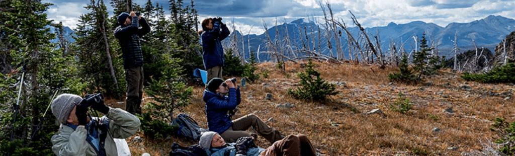 group outdoor activities using binoculars for sighting cool stuff in nature