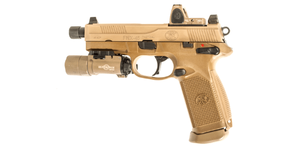 FDE FNX 45 tactical with surefire x300 and trijicon rmr