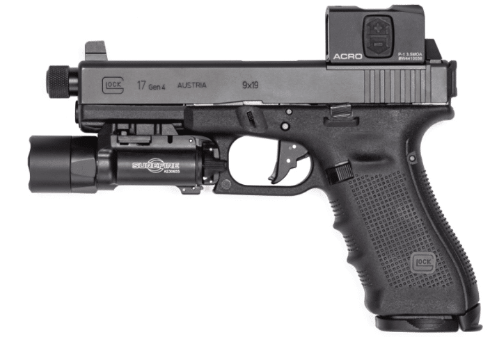Glock 17 gen 4 with surefire x300 and Aimpoint ACRO P-1