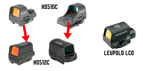 Holosun 512c vs 510C vs Leupold LCO comparison