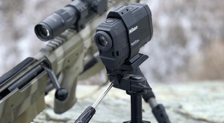 laser rangefinder on a tripod