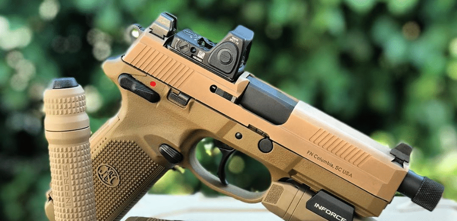 FDE fnx 45 tactical with trijicon rmr and inforce light