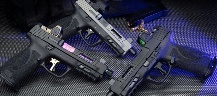 M&P pistol with red dot sights