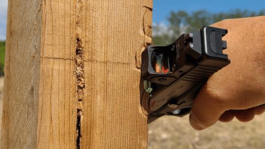 racking trijicon rmrcc on wood