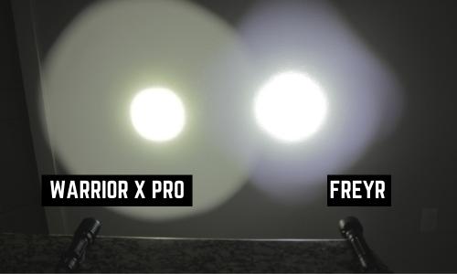 light beam pattern olight freyr vs warrior x pro