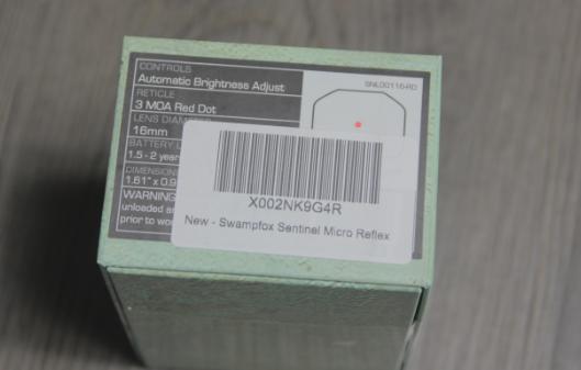 swampfox red dot sight box label