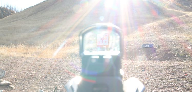 shooting into the sun red dot sight